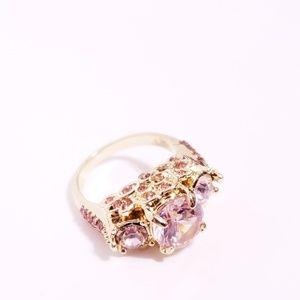 Pink Sapphire + Gold Women's Ring + SZ 8